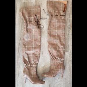 Jeffrey Campbell Plaid Thigh High Boots